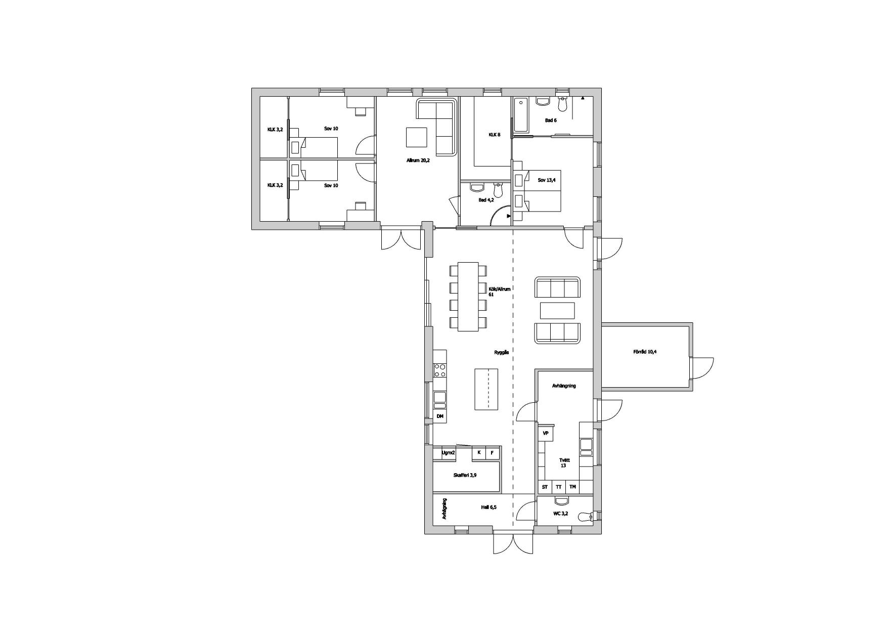 Planskiss villa Staffanstorp