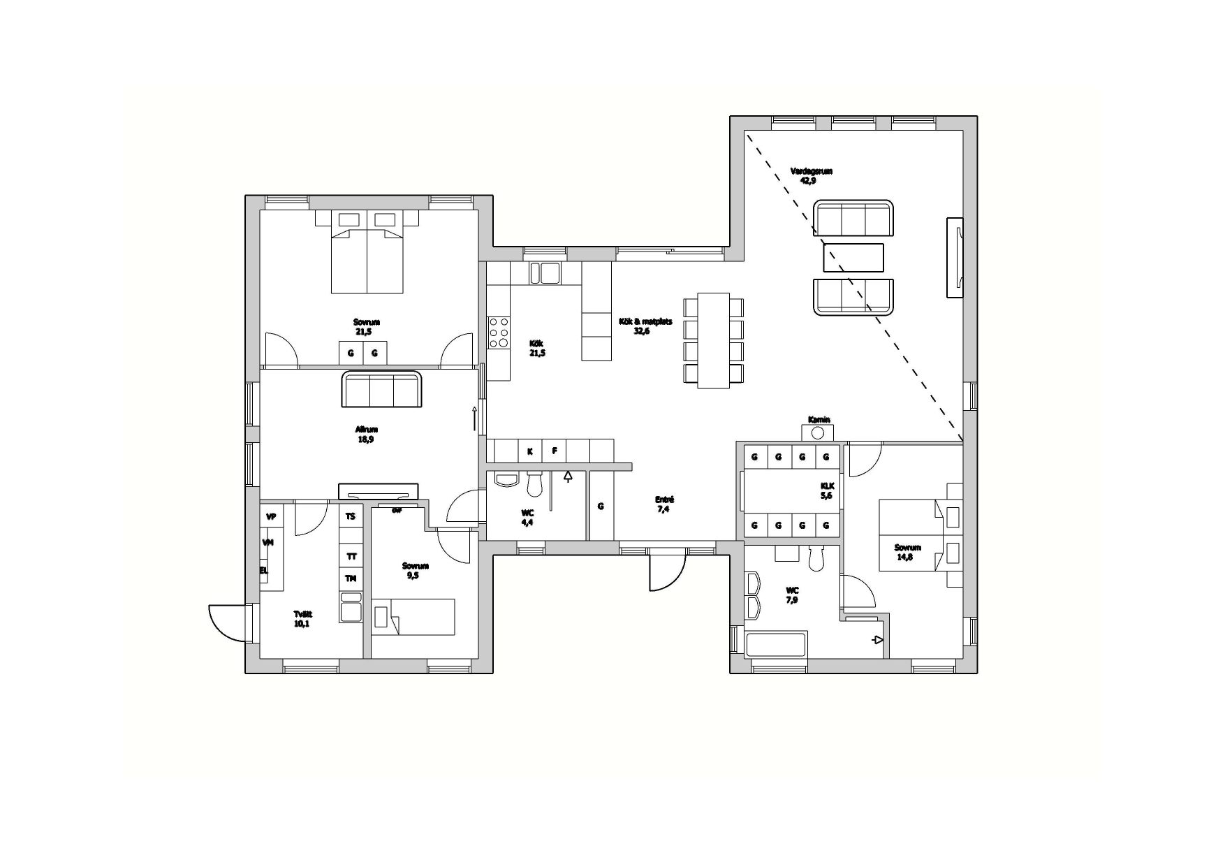 Planskiss Villa Stehag